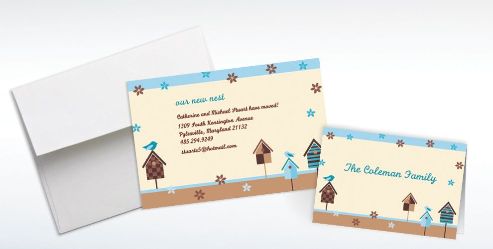 Custom Quaint Birdhouse Moving Announcements and Thank You Notes