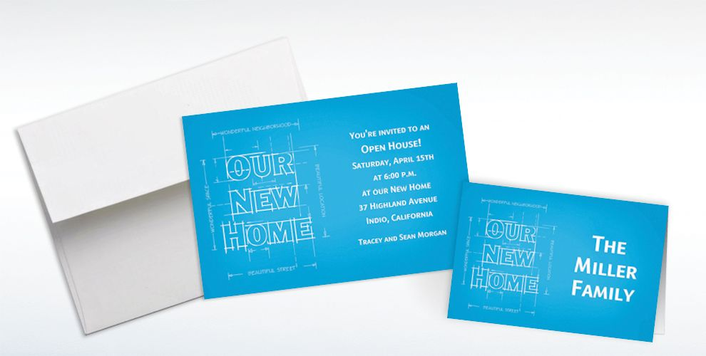 Custom New Home Blueprints Moving Announcements and Thank You Notes