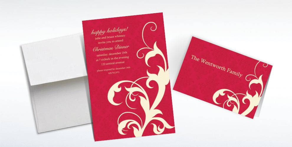 Custom Red Holiday Filigree Invitations and Thank You Notes