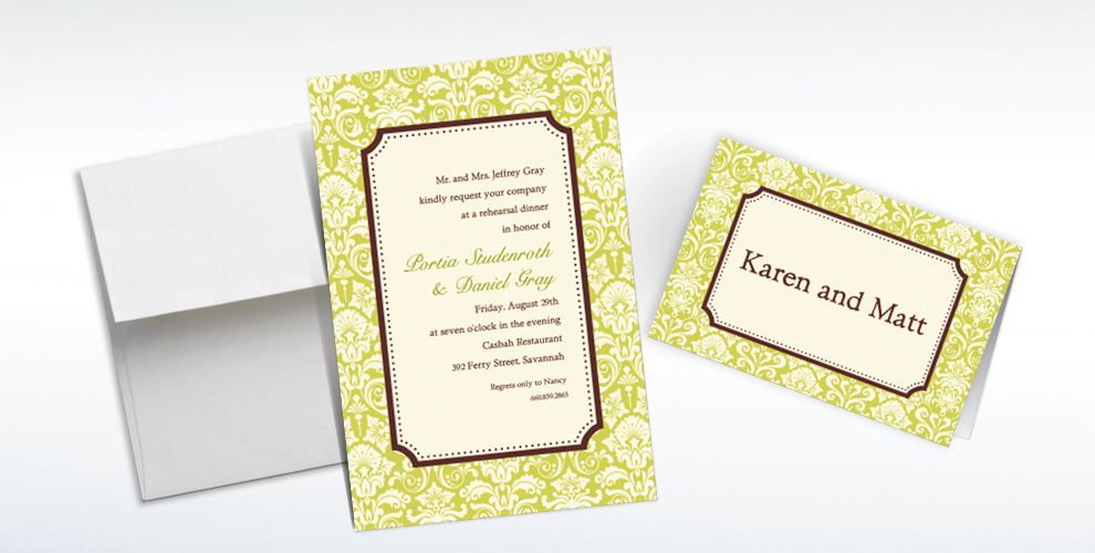 Custom Classic Damask Lime Border Invitations and Thank You Notes