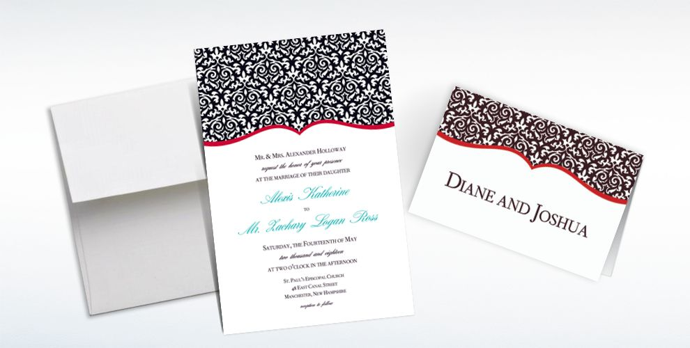 Custom Fancy Finish Red Invitations & Thank You Notes
