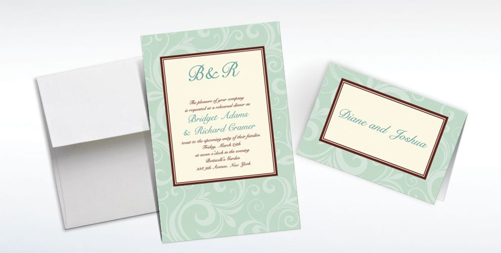 Custom Floating Mint Border Invitations and Thank You Notes
