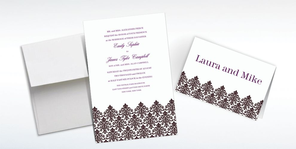 Custom Unbridled Filigree Black Invitations and Thank You Notes