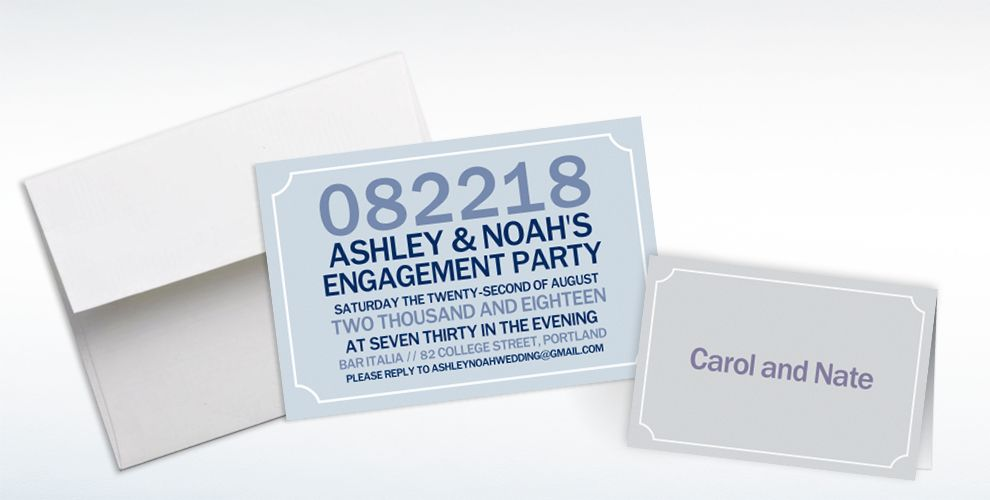 Custom Formal Corners Gray Invitations and Thank You Notes