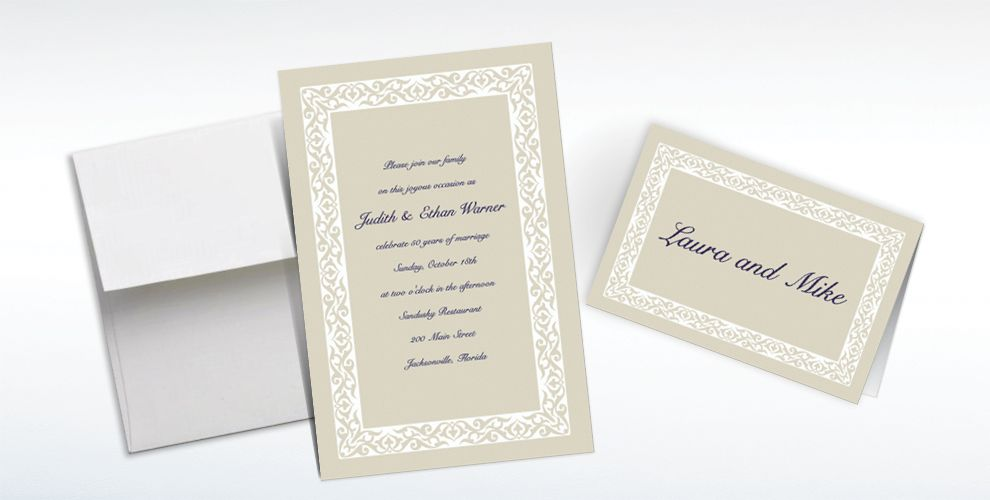 Custom Embellished Border Beige Invitations and Thank You Notes