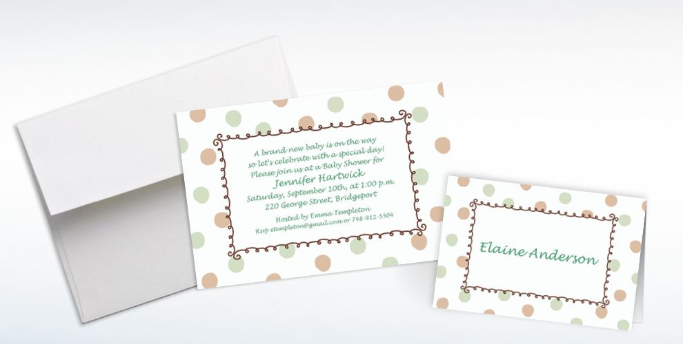 Custom Green Dots Border Baby Shower Invitations & Thank You Notes ...