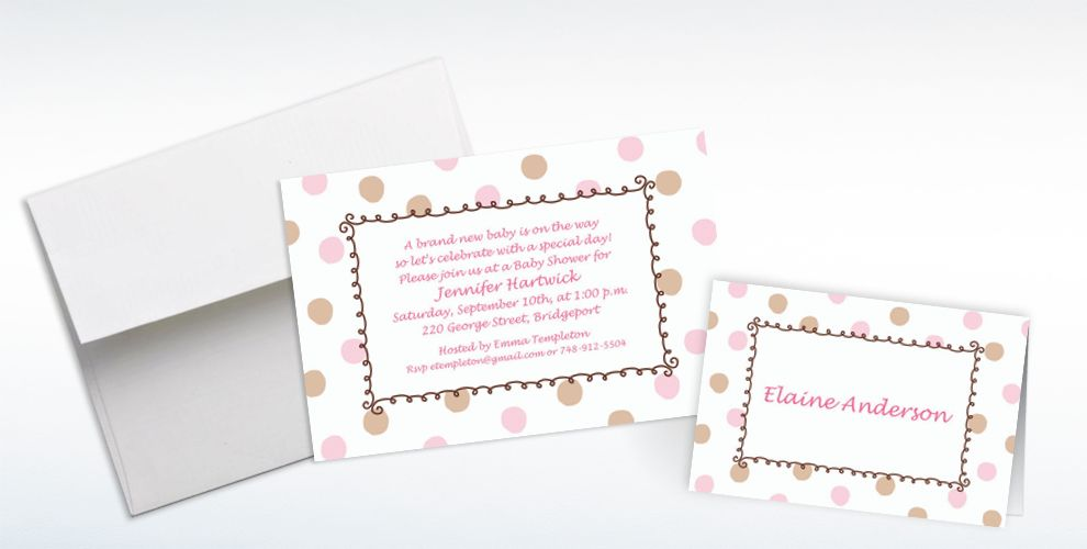 Custom Pink Dots Border Baby Shower Invitations and Thank You Notes