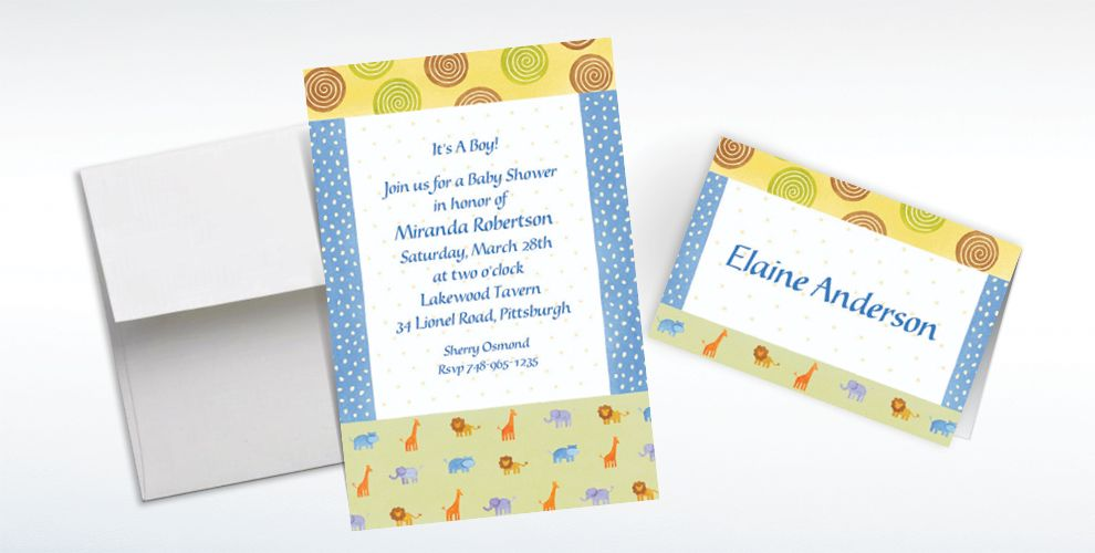 Custom Jungle Animal Patchwork Baby Shower Invitations and Thank You Notes