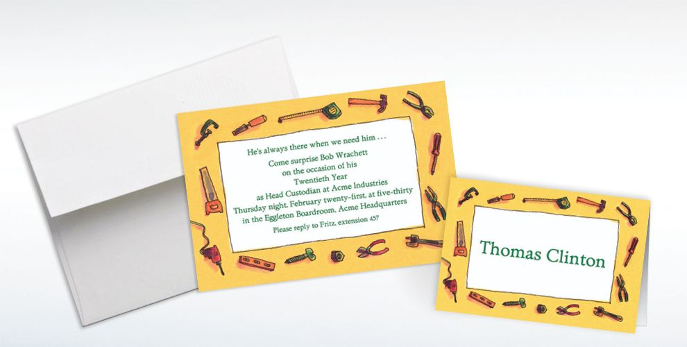 Custom Tool Border Moving Invitations and Thank You Notes