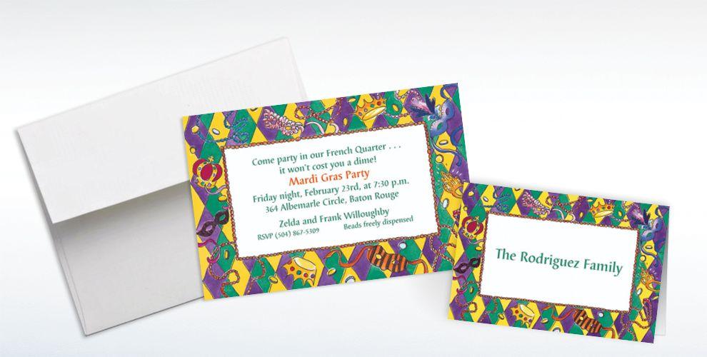 Custom Harelequin Border Mardi Gras Invitations and Thank You Notes