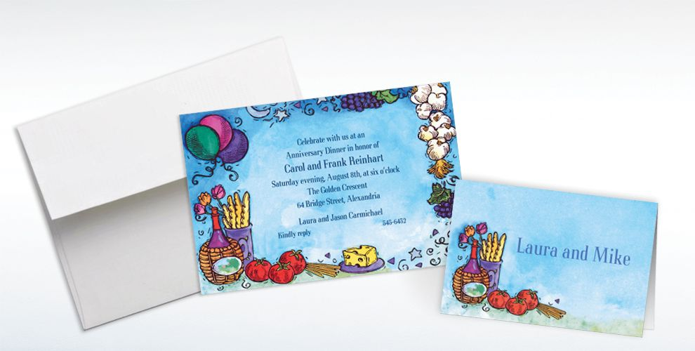 Custom Italian Dinner Party Invitations and Thank You Notes