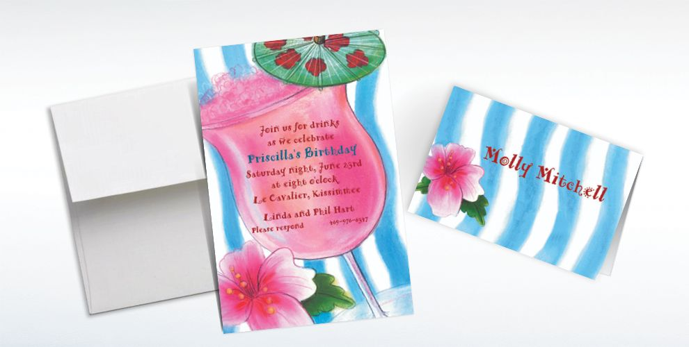 Custom Tropical Drink Invitations and Thank You Notes