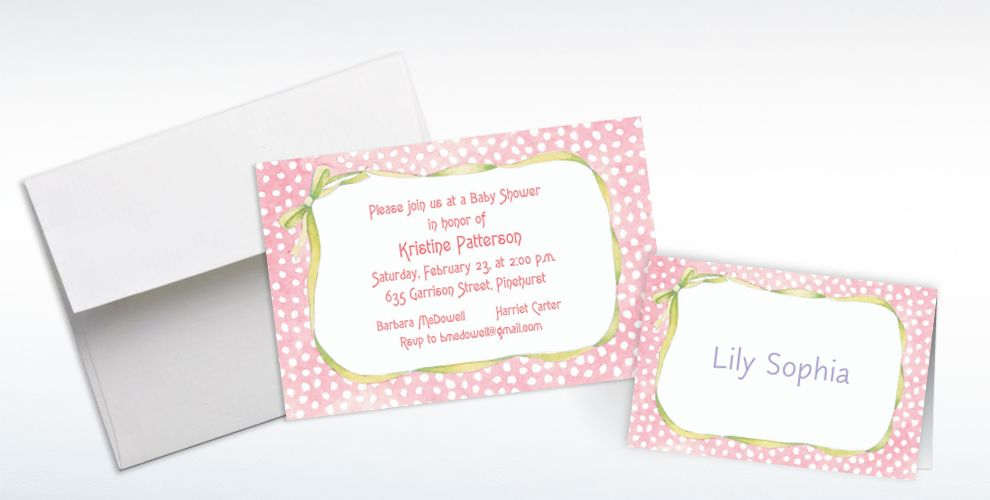 Custom Pink Polka Dots and Bow Baby Shower Invitations and Thank You Notes