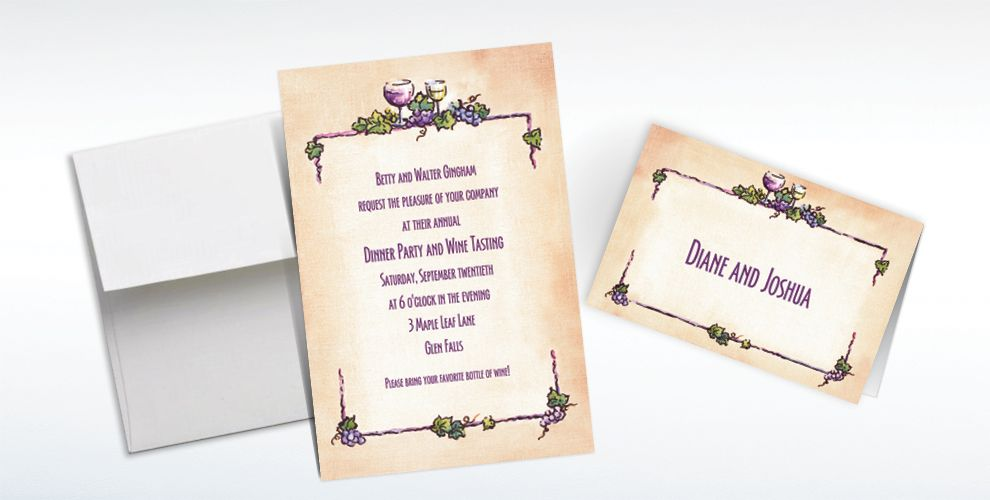Custom Grapes and Wine Border Invitations and Thank You Notes
