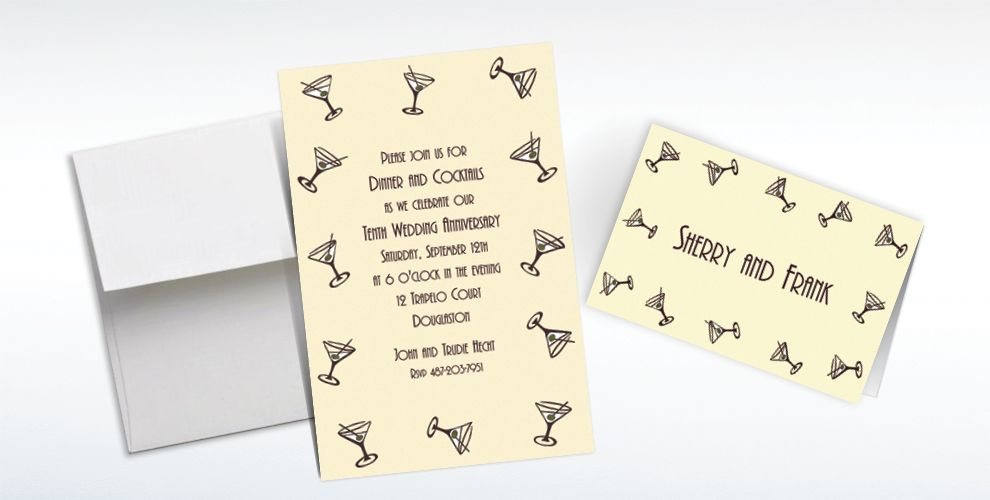 Custom Mini Martini Border Invitations and Thank You Notes