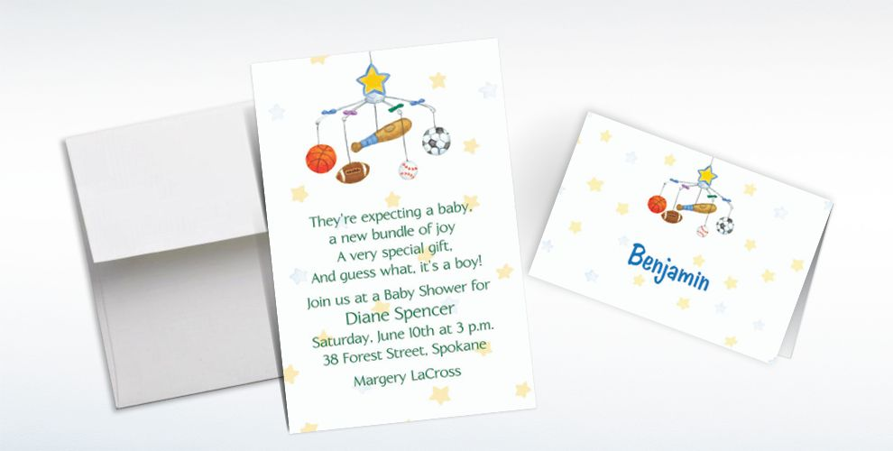 Custom Sporty Mobile Baby Shower Invitations and Thank You Notes