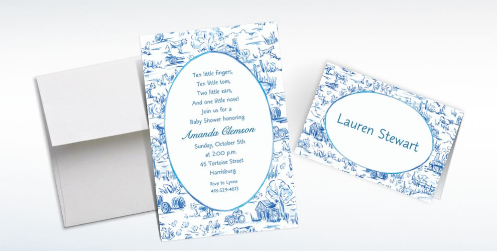 Custom Old MacDonald Toile Baby Shower Invitations and Thank You Notes