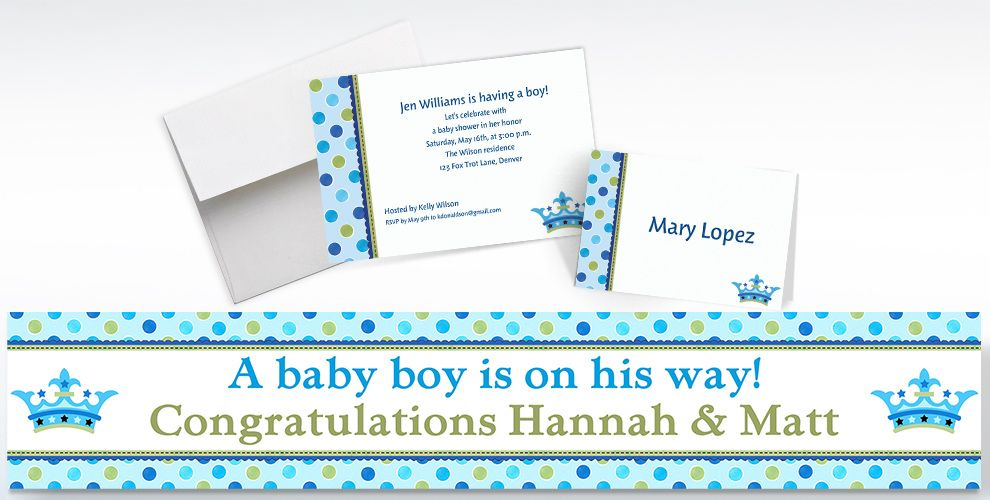 Custom Little Prince Baby Shower Invitations & Thank You Notes ...