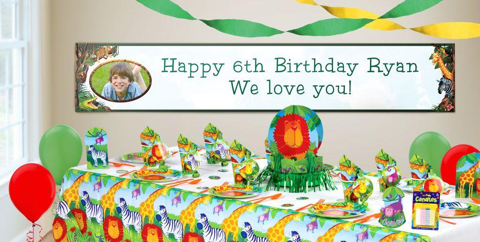 Custom Jungle Animals Birthday Banners