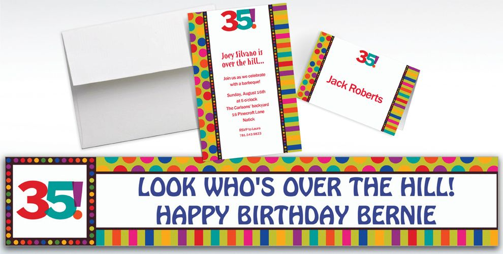 Custom Birthday Dots and Stripes 35th Birthday Invitations
