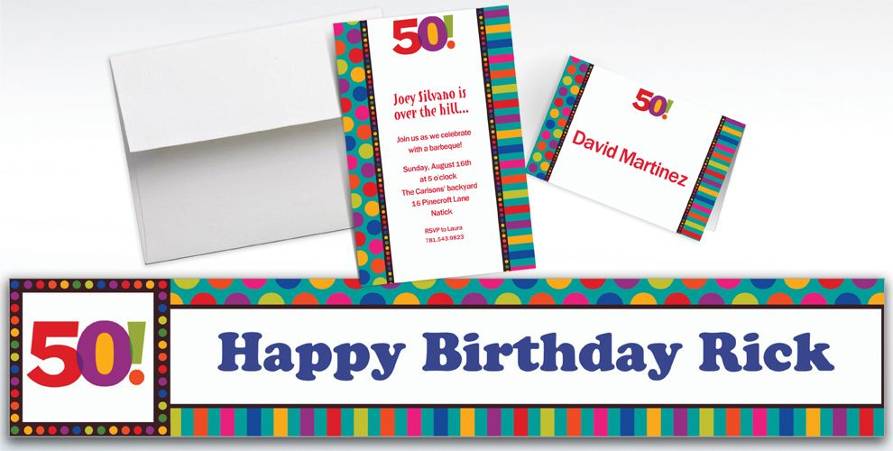 Custom Birthday Dots and Stripes 50th Invitations
