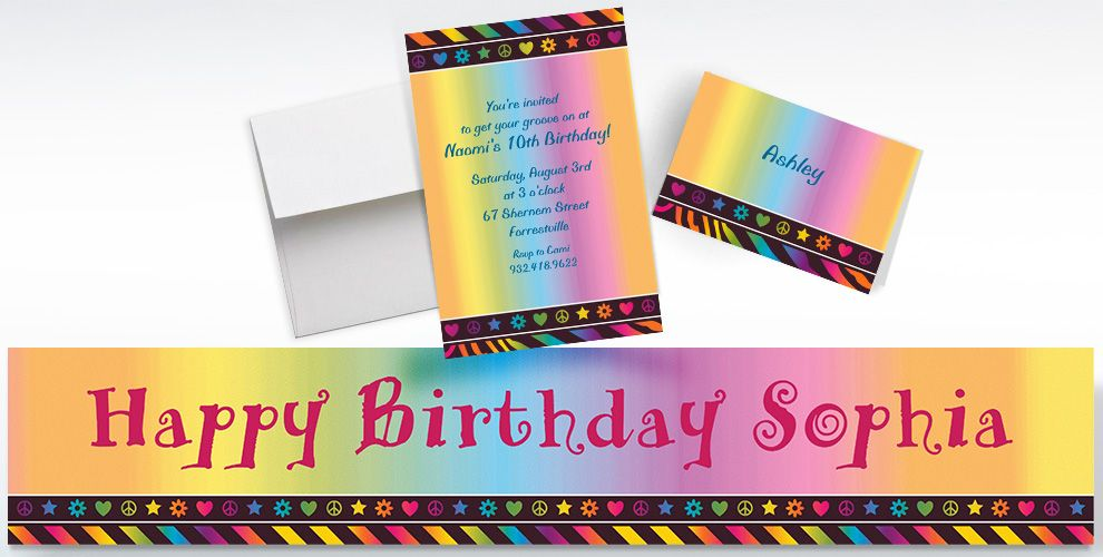 Custom Neon Birthday Girl Invitations, Thank You Notes and Banners