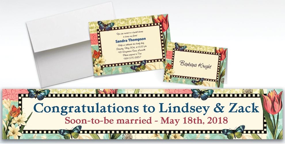 Custom Garden Melody Invitations and Thank You Notes
