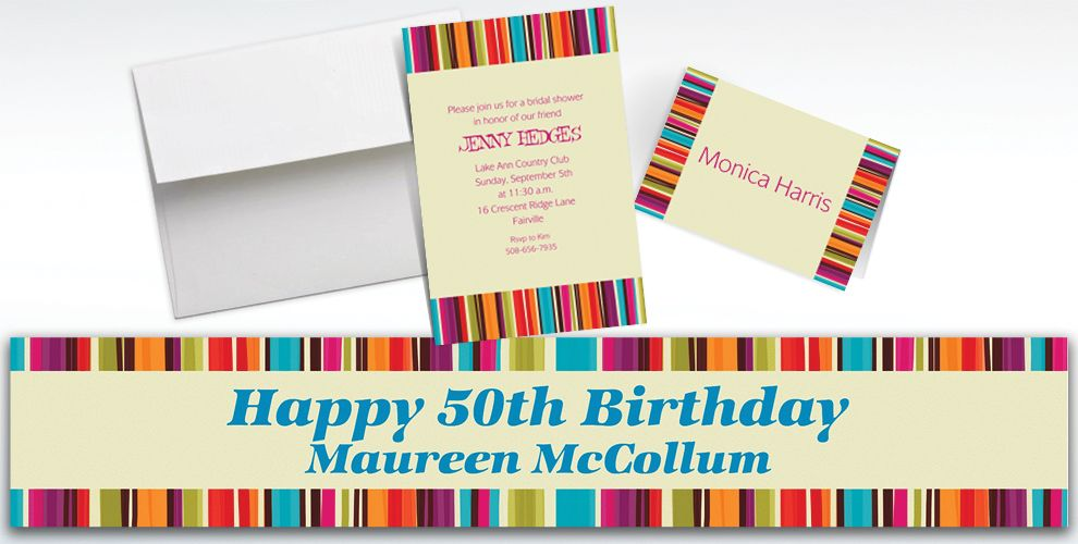 Custom Stripe Style Invitations and Thank You Notes