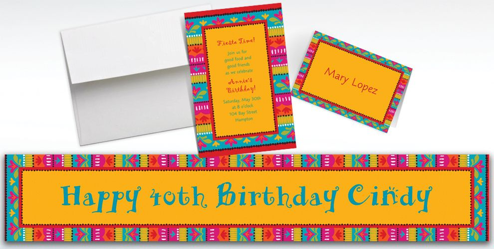 Custom Fiesta Brights Invitations and Thank You Notes