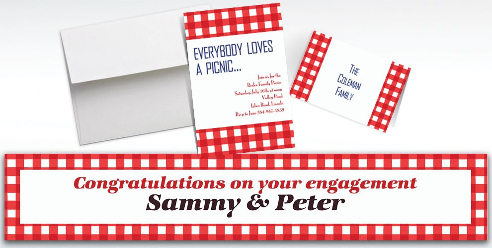 Custom American Summer Red Gingham Invitations and Thank You Notes