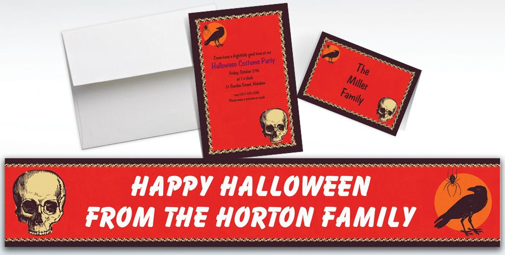 Custom Be Afraid Halloween Invitations and Thank You Notes