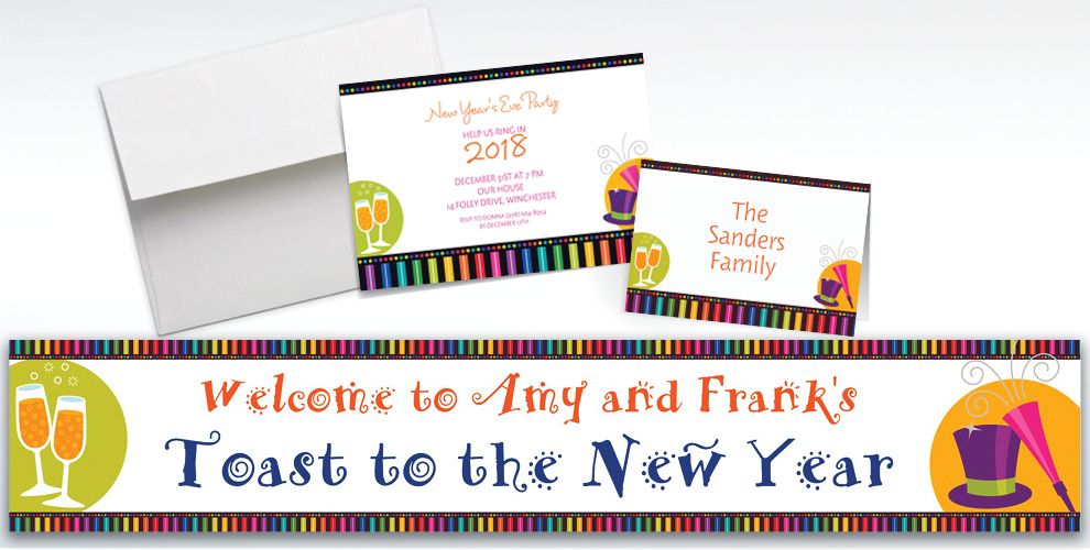 Custom Bright New Year Invitations and Thank You Notes