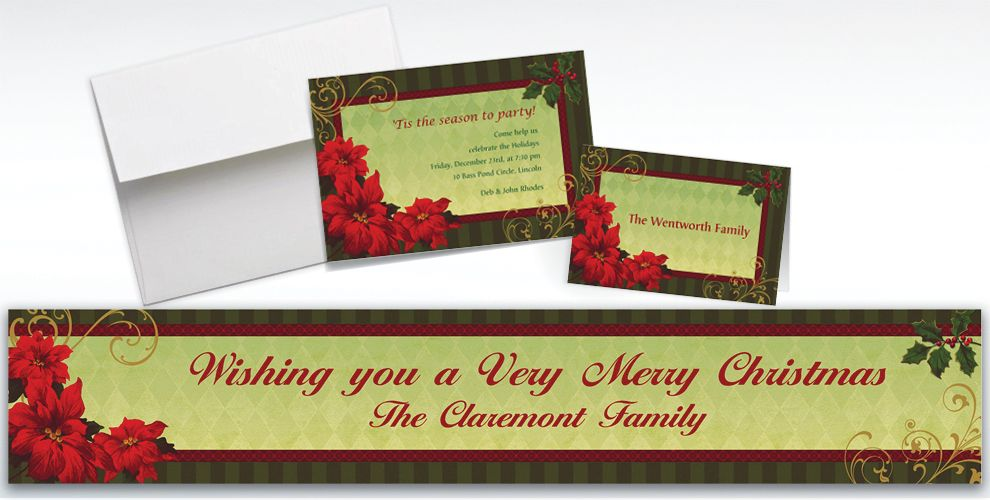 Custom Vintage Poinsettia Invitations and Thank You Notes