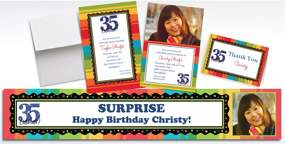 Custom 35th Birthday Invitations and Thank You Notes