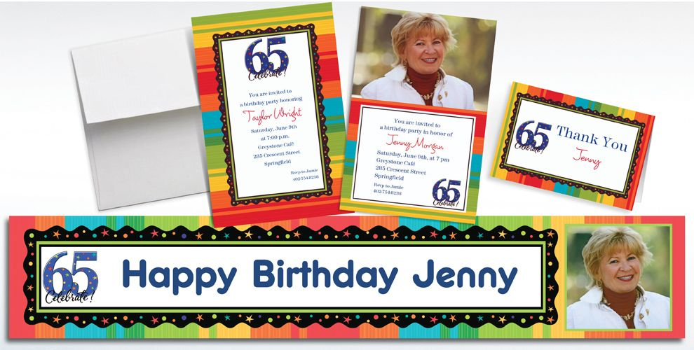 Custom 65th Birthday Invitations and Thank You Notes