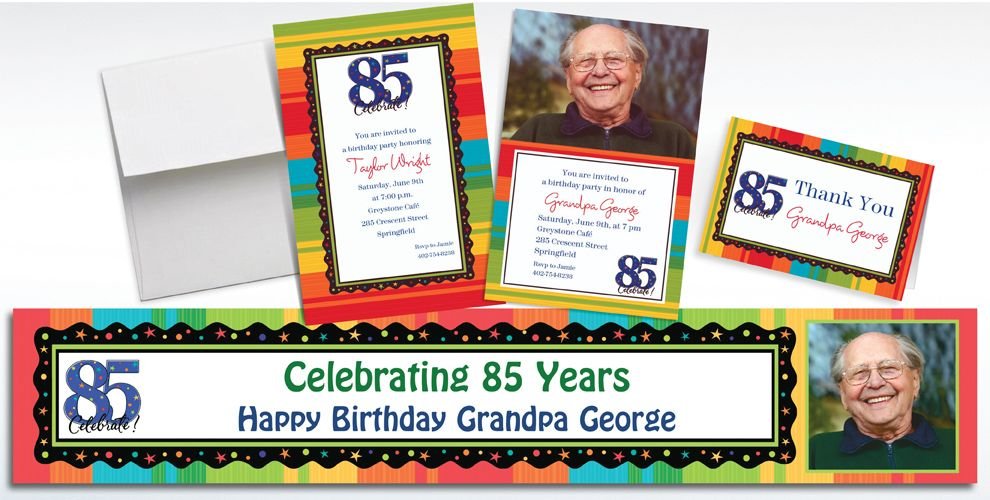 Custom 85th Birthday Invitations and Thank You Notes