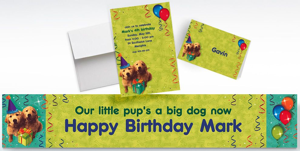 Custom Dogs Invitations, Thank You Notes and Banners