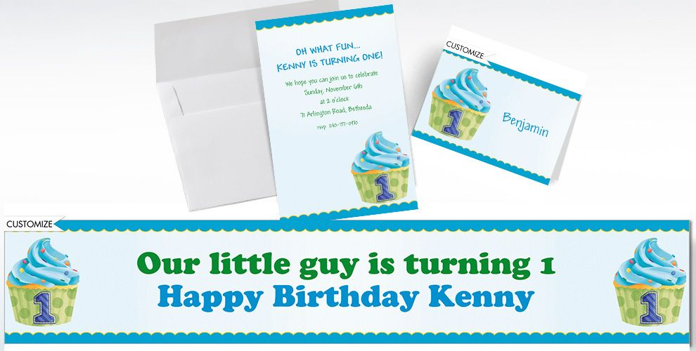 Custom 1st Birthday Blue Cupcake Invitations and Thank You Notes
