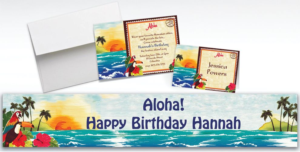 Custom Hawaiian Luau Invitations and Thank You Notes