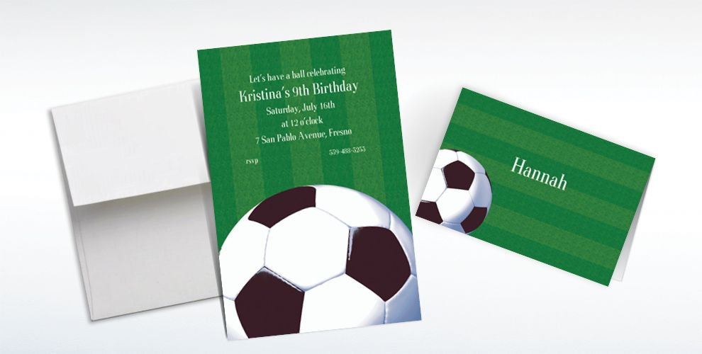 Custom Soccer Fan Invitations and Thank You Notes