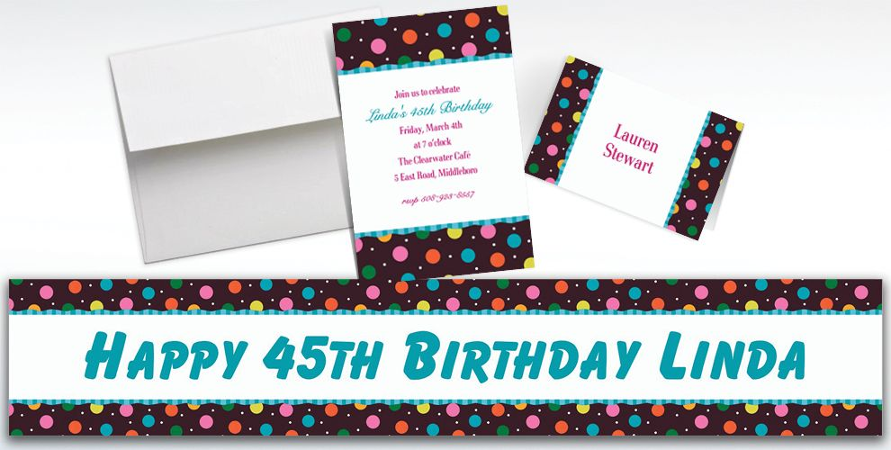 Custom Glitter Dots Invitations and Thank You Notes