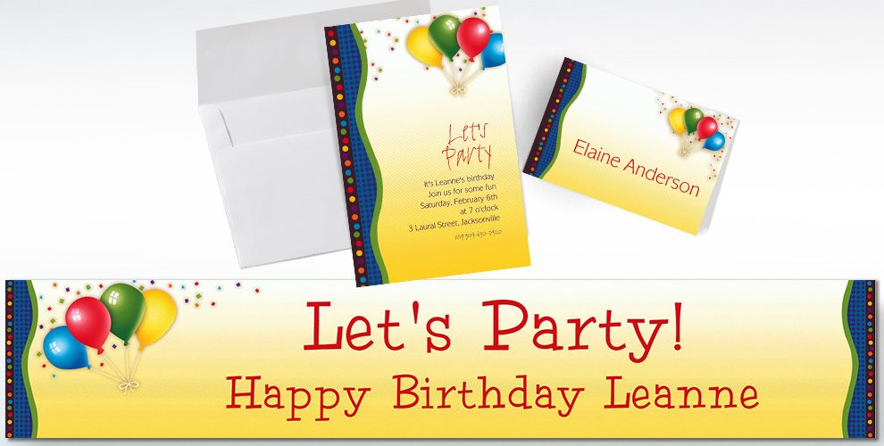 Custom Punchy Birthday Invitations and Thank You Notes