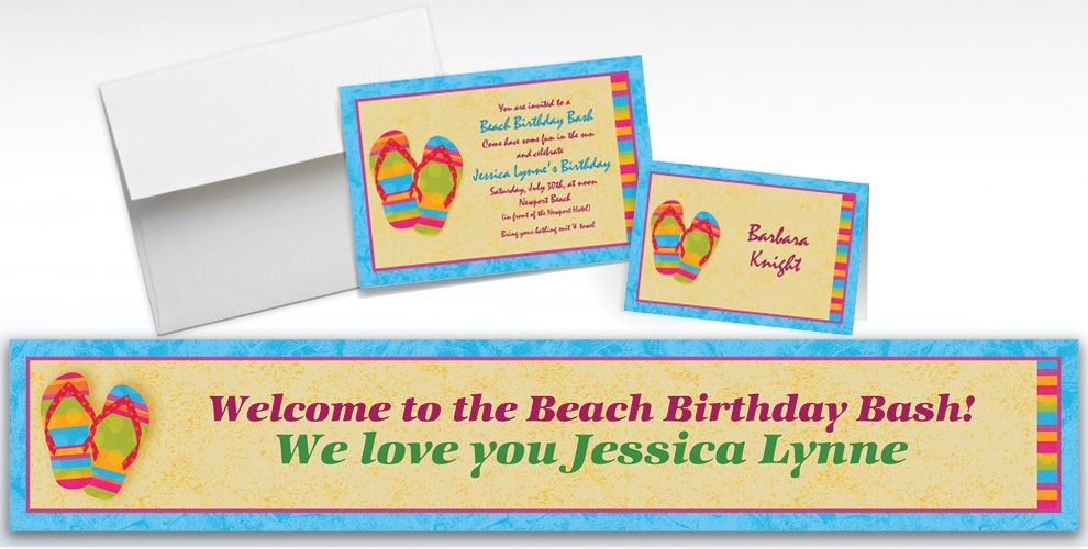 Custom Flip Flops Summer Invitations and Thank You Notes
