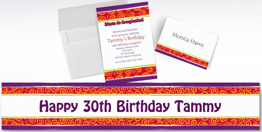 Custom Birthday Cumpleanos Invitations and Thank You Notes