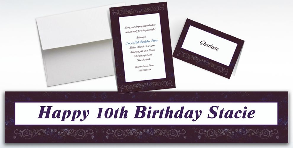 Custom Textured Border Invitations and Thank You Notes