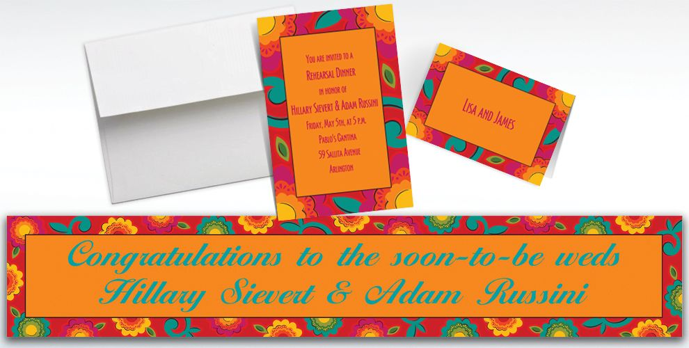 Custom Fiesta Caliente Invitations and Thank You Notes