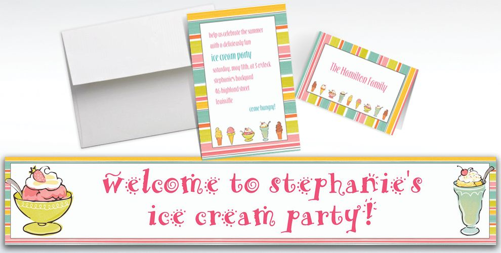 Custom Sweet Soiree Ice Cream Party Invitations and Thank You Notes