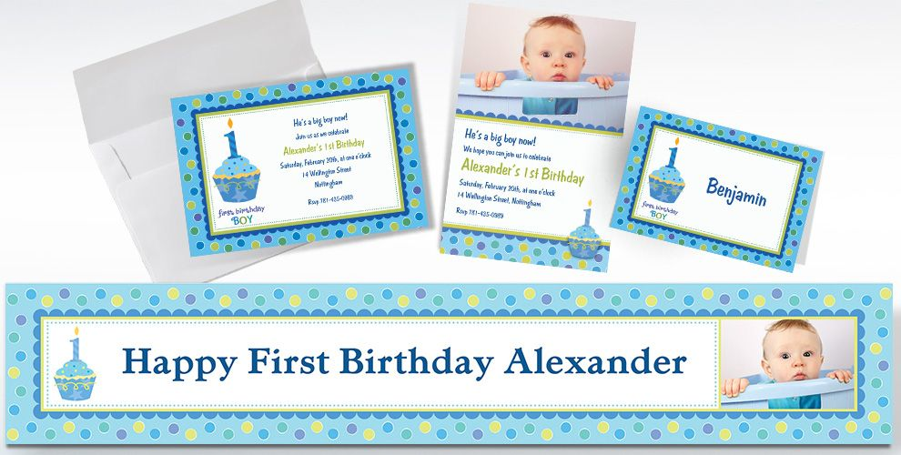 Custom Sweet Little Cupcake Boy 1st Birthday Invitations and Thank You Notes