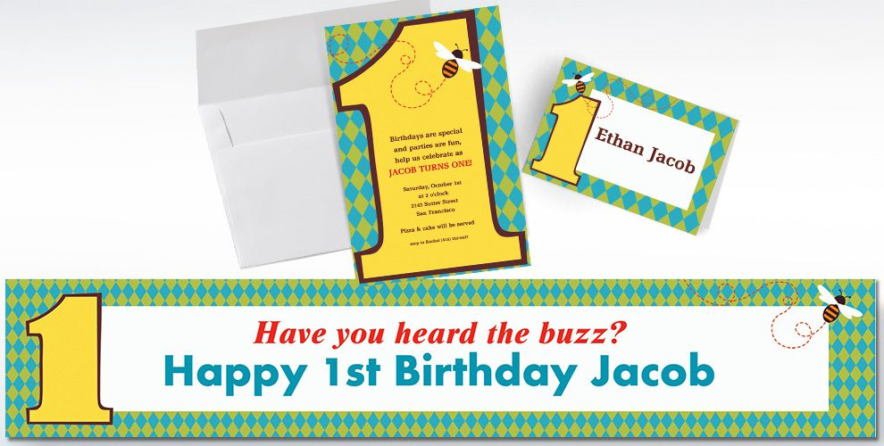 Custom Number One 1st Birthday Invitations and Thank You Notes