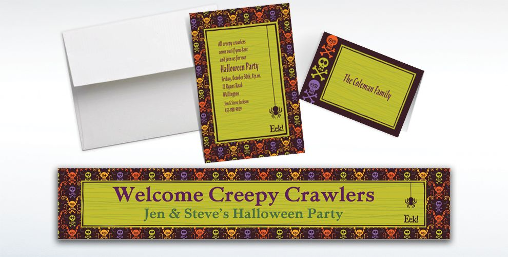 Custom Chills and Thrills Halloween Invitations and Thank You Notes